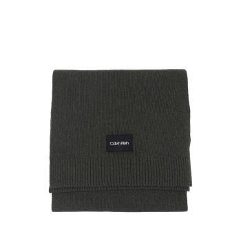 Calvin Klein Sciarpa Micro Coste in Lana Cashmere Verde Oliva Scuro