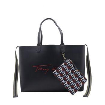 Tommy Hilfiger Shopper Grande Blu con Logo